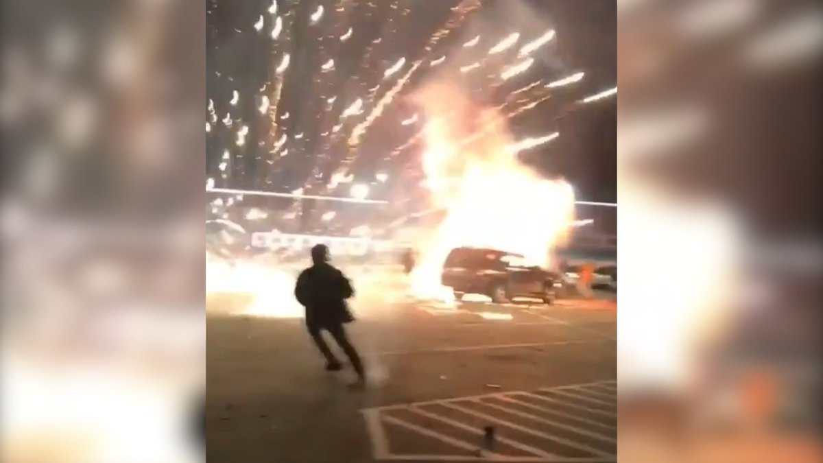 600 fireworks explode from Dodge Charger's trunk on New Year's Eve