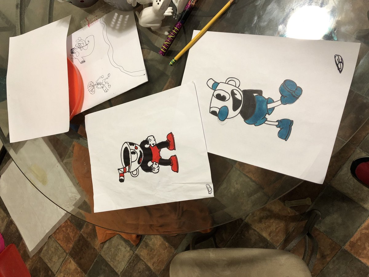 Kids asked me to draw Cuphead and Mugman from this beautiful, brilliant, difficult game. I don't draw often but these were good enough after they colored them. @CupheadOfficial #Cuphead #cupheadfanart https://t.co/k5ahWQ99mh