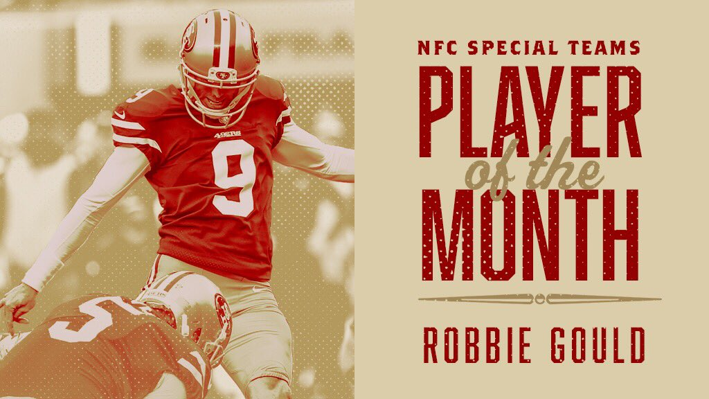 Congrats @RobbieGould09!   #9️⃣ has been named the NFC Special Teams Player of the Month. https://t.co/EAEfRhnOet