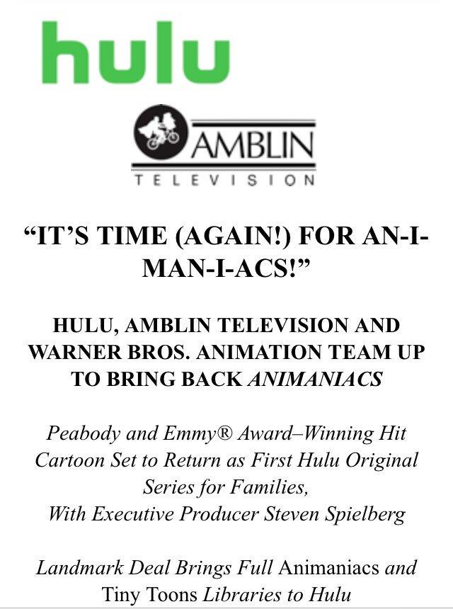Animaniacs. Hulu. This is happening. https://t.co/njKT4TkS8p