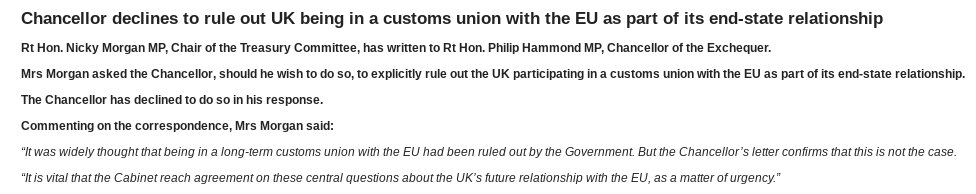 Interesting. Hammond refuses to rule out being in a customs union with EU in letter to Nicky Morgan. https://t.co/mo340ZW0gK
