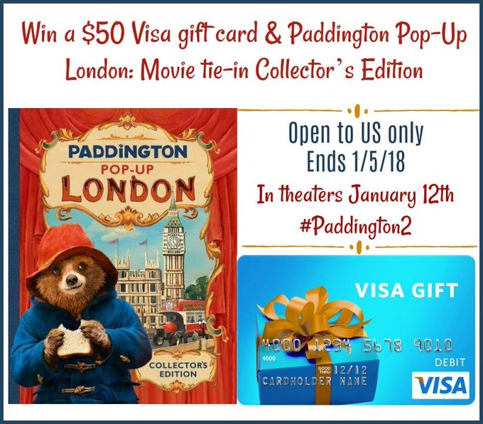 $50 Visa GC and Pop-Up Book-1-US-Ends 1/5/18  #Paddington2