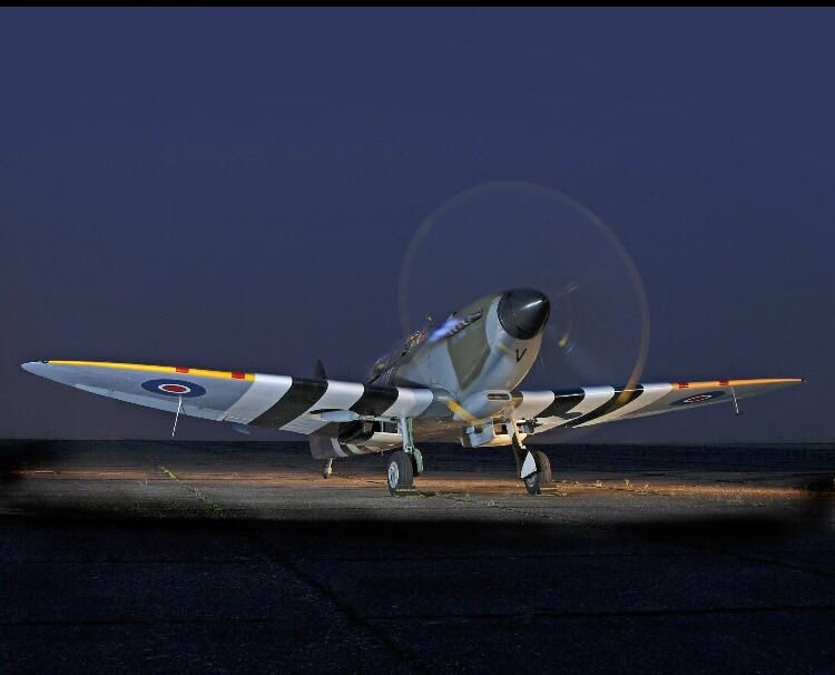 test Twitter Media - Stunning night photo by Darren Harbar at Duxford 2004. ML407 in full D-Day livery to commemorate D-Day and the significant role our Spitfire had that Day shooting down first enemy aircraft during the landings https://t.co/smkdGywQCs