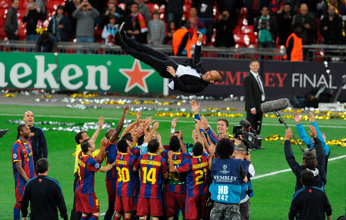 Happy birthday to @ManCity manager, Pep Guardiola 🎈  Pep won the @ChampionsLeague at Wembley with THAT Barca team back in 2011 🏆 https://t.co/kPjVZ8m7tc
