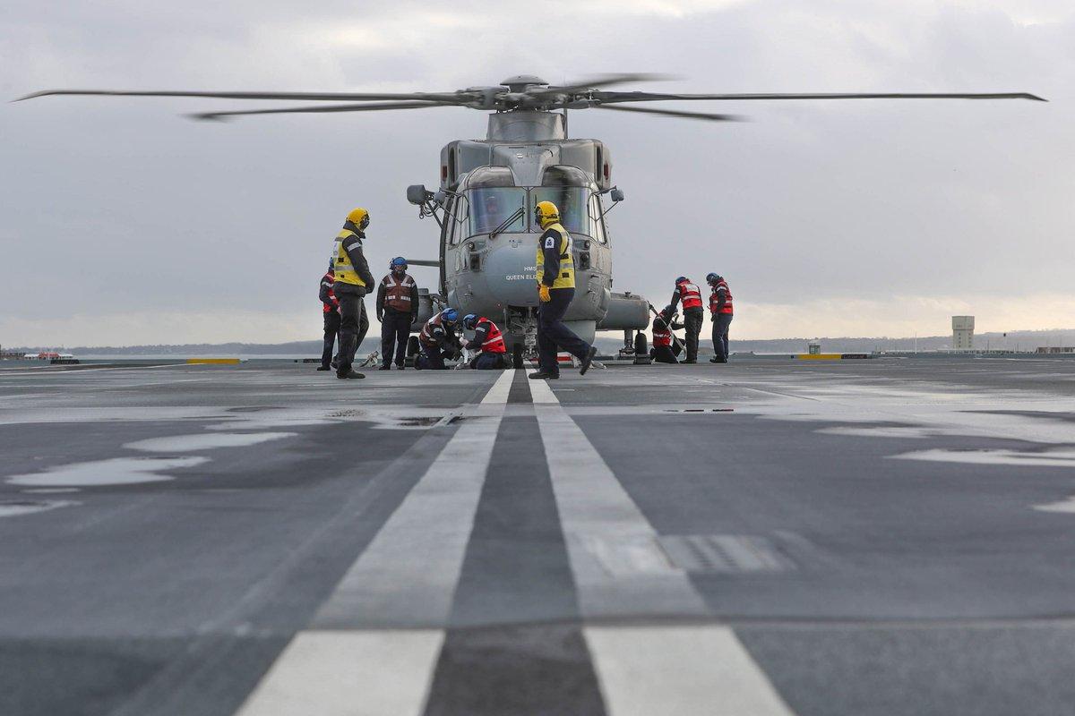 RT @UKDefJournal: HMS Queen Elizabeth begins initial rotary wing aircraft trials - https://t.co/y6jsmIVmcb https://t.co/wycWEpIxXa
