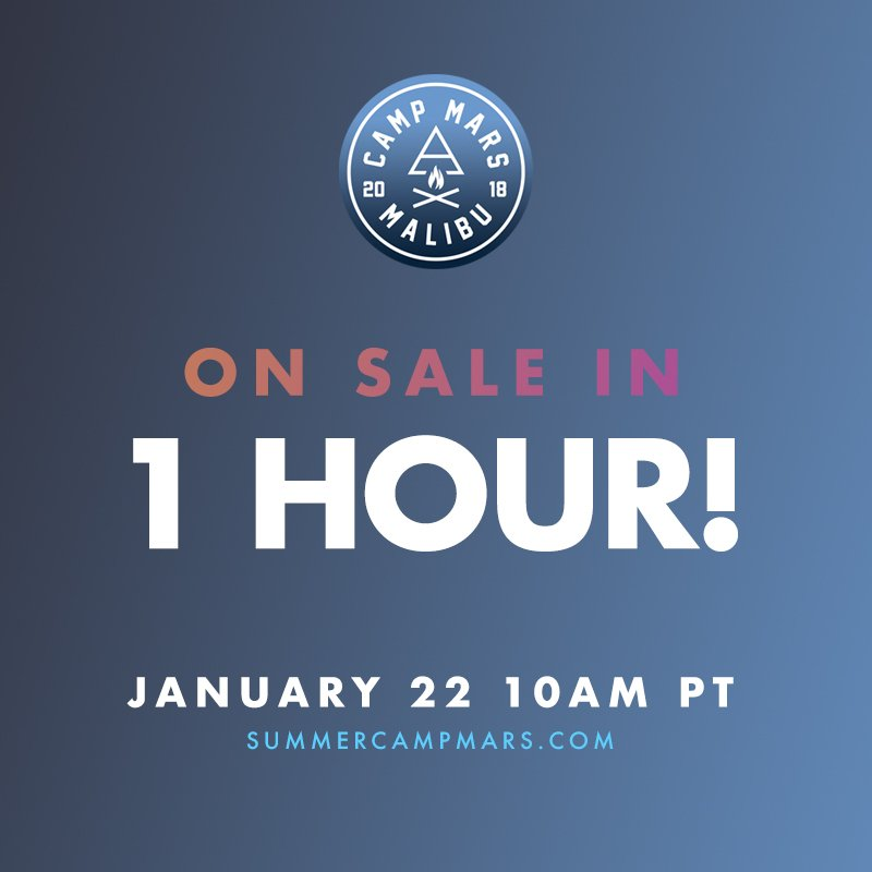 HOLY GUACAMOLE, JUST 1 HR TIL @SummerCampMars tix are ON SALE!! Who's coming??  https://t.co/uhdPT1WhMs https://t.co/Pf2kmwF6ug
