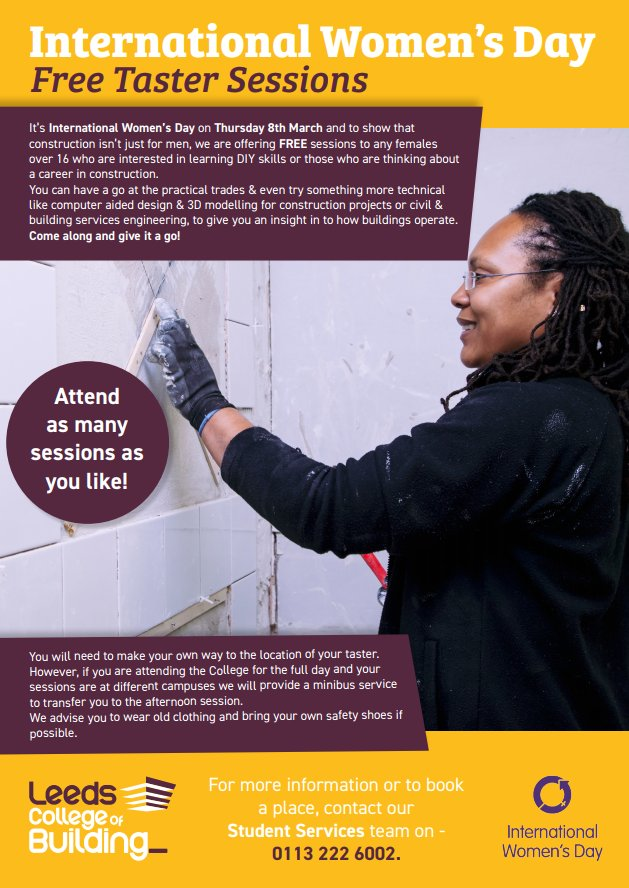 test Twitter Media - It's International Women's Day on Thursday 8th March. Our partner @LCB_Building is offering free taster days. Start the new year with new skills and aspirations and try something new! #startyourjourney  https://t.co/I8sahCbqra https://t.co/5h2qy2H8rW