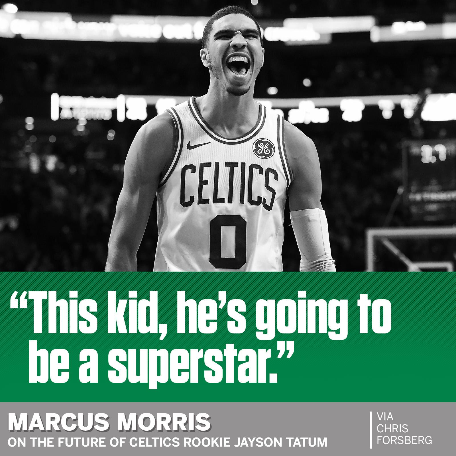 How high is Jayson Tatum's ceiling?   His teammate has an answer. https://t.co/1QdsL2AoMx