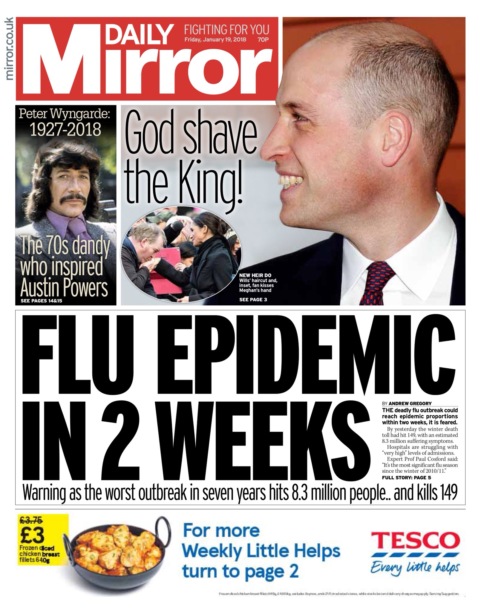 Friday's Daily Mirror 'Flu epidemic in two weeks'  #tomorrowspaperstoday #bbcpapers (via @hendopolis) https://t.co/2swr0Iyvmg