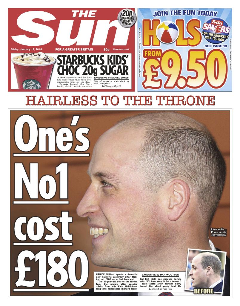 Prince William forks out £180 for No1 buzzcut from Kate Middleton's hairdresser in bid to silence Harry's baldness digs