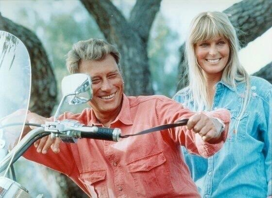 #throwbackthursday Riding with Rock Star Johnny Hallyday. He stopped by the ranch while on a cross country road trip. We rode some of my horsepower that day too. @jhallyday #rockstar #rockandroll #horse #idol #motorcycle https://t.co/z3YIVZaoz9
