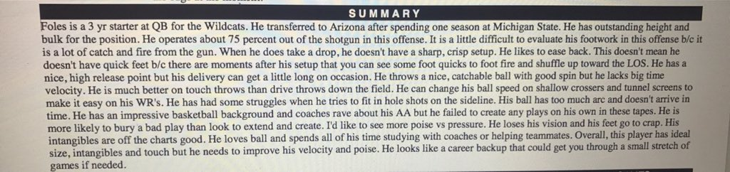 Here's my Foles report-- Gave him late 4th rd grade. We took him in the 3rd. He's a great dude. So happy for him. https://t.co/FFePklSL3k