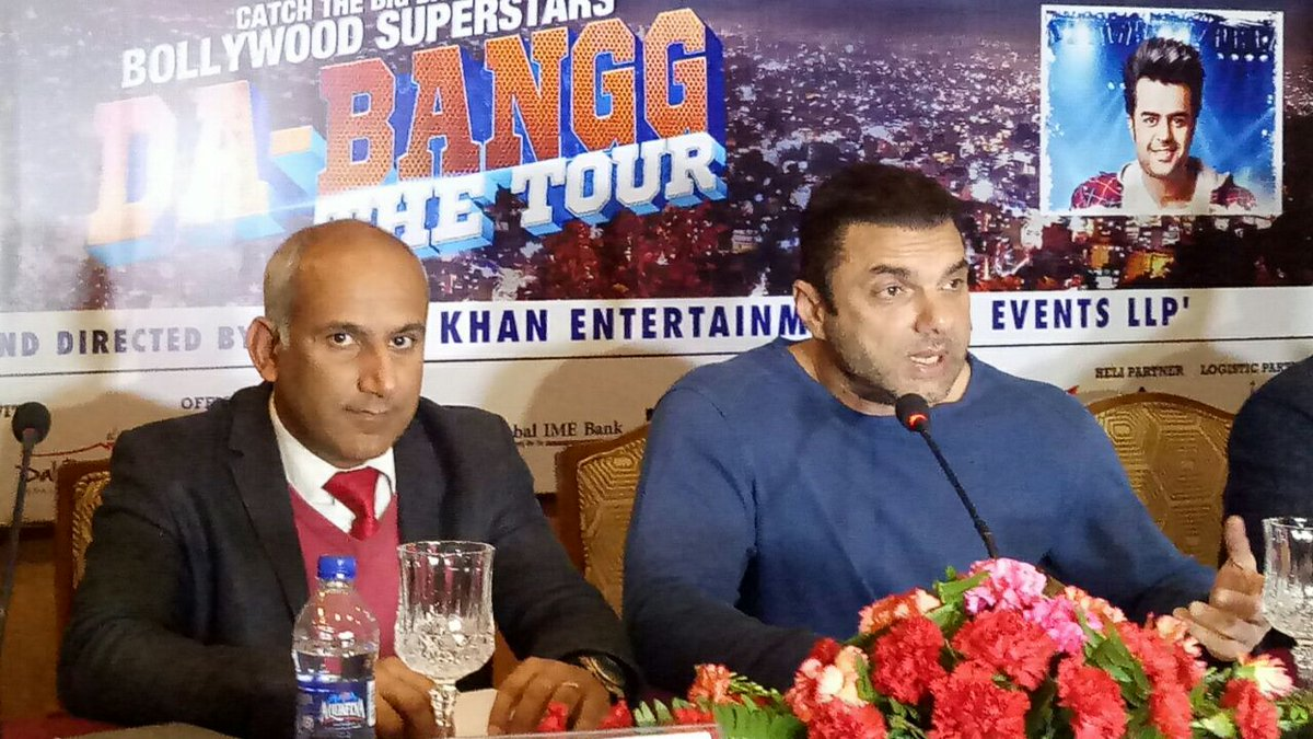 "test Twitter Media - Bollywood actor #SalmanKhan will perform live at #Kathmandu, Nepal on 10th March. Director of the event ""THE DA-BANGG TOUR"" Sohail Khan briefed the media at #Kathmandu about the show https://t.co/pqCz4vhWdA"