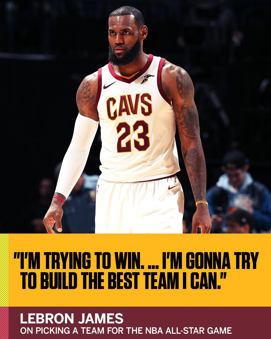LeBron James isn't saying who he's taking first. But he is taking the NBA All-Star Game very seriously. https://t.co/WFBfM2naDB