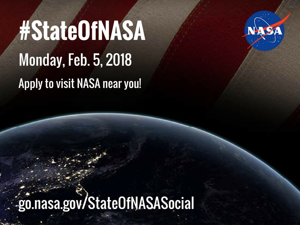 Final chance to apply! We're opening the doors to our facilities across the country & inviting our social media followers (that's you!) to an in-person #StateOfNASA event on Feb. 5! Apply to attend by noon ET today for a #NASASocial event near you: https://t.co/azf9pggfdI https://t.co/BTbPtLXlcP