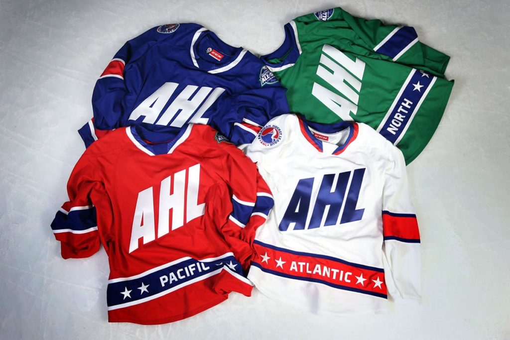The 2018 #AHLAllStar jerseys are officially here.   → https://t.co/vjWieZ6Pko https://t.co/QbnCo7kLpJ