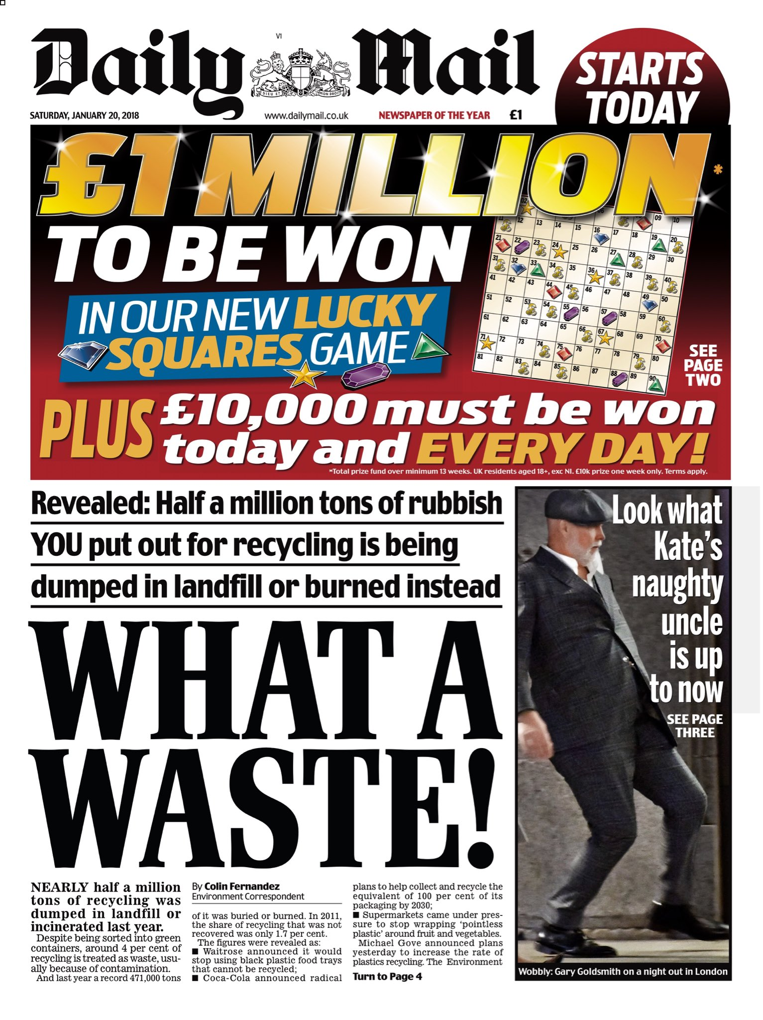 """Saturday's Daily MAIL: """"What A Waste!"""" #bbcpapers #tomorrowspaperstoday (via @AllieHBNews) https://t.co/FZN8ywLdJY"""