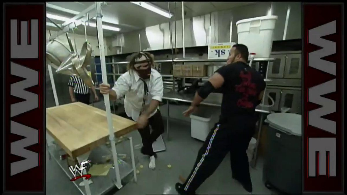 RT @WWE: There's only one truly proper way to celebrate #NationalPopcornDay...  @TheRock @RealMickFoley https://t.co/9Ysbglnnr4