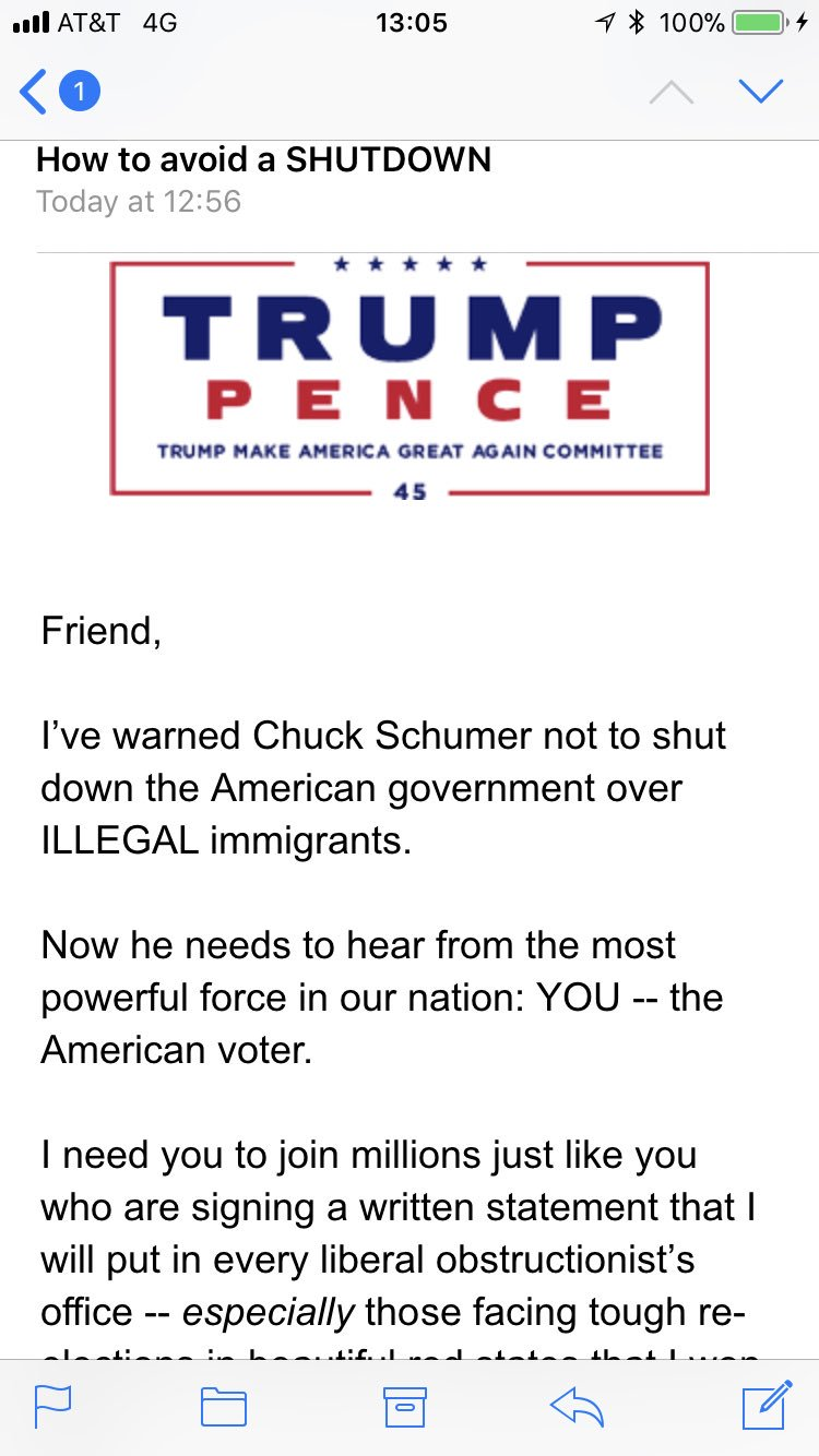Trump campaign email on shutdown https://t.co/AFX6cEb4b7