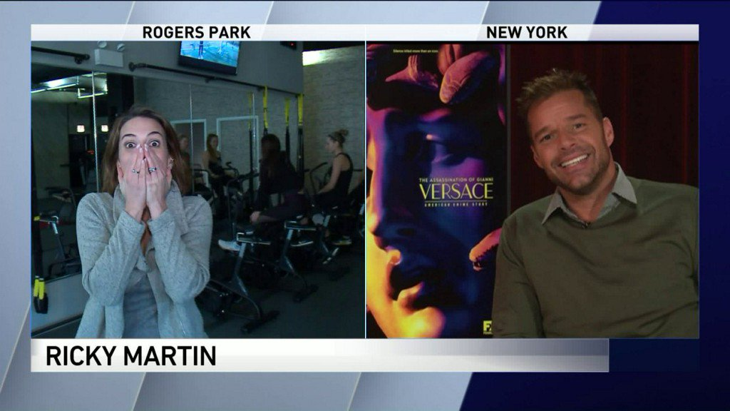 Ricky Martin accidentally hears reporter's fangirl freak-out on live TV