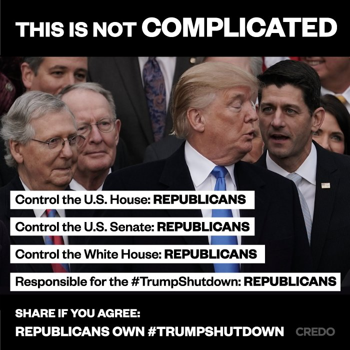 RT @CREDOMobile: RT to get the word out: Republicans will own this #TrumpShutDown #Resist https://t.co/HKurxegbWO