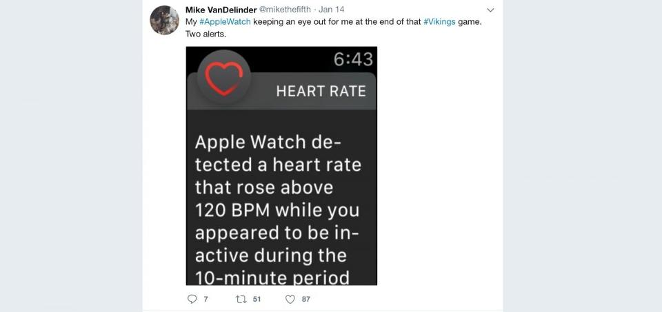 test Twitter Media - Apple Watch wearers received elevated heart rate warnings at the climax of the Vikings vs. Saints NFL nail-biter https://t.co/pN8XnV706T https://t.co/LmyJJSeTW1