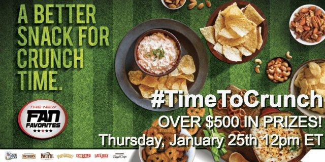 Snacks! #TimeToCrunch Twitter Party 1/25 12pm ET. $500+ in prizes! RSVP/Rules AD https://t.co/bCBbETNEoz https://t.co/Q0xx43vhND