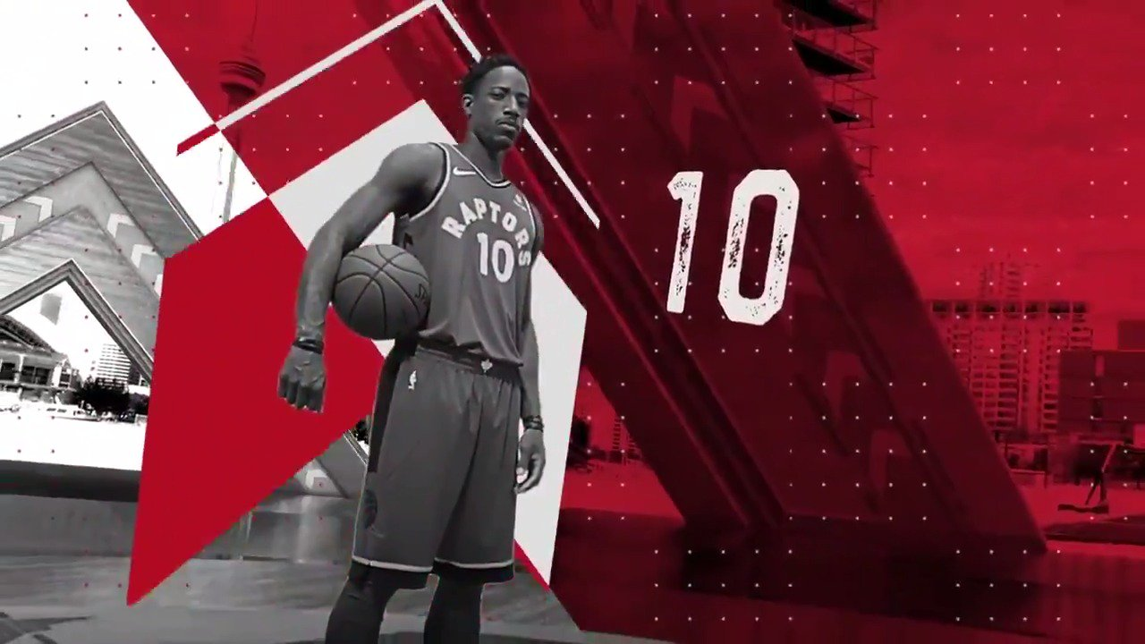 #DeMarDeRozan receives a tribute from the @Raptors for his 2nd #NBAAllStar starting nod!  #WeTheNorth https://t.co/F0v3cPa4Ea