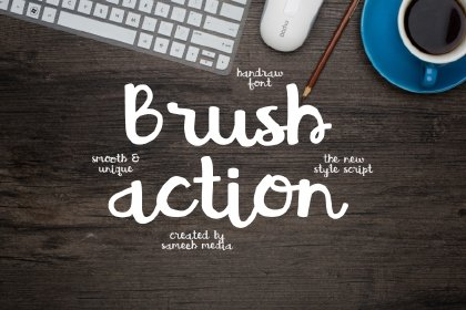 Brush Action Free Typeface Fonts Script Freebies FreeResources FreeDownload
