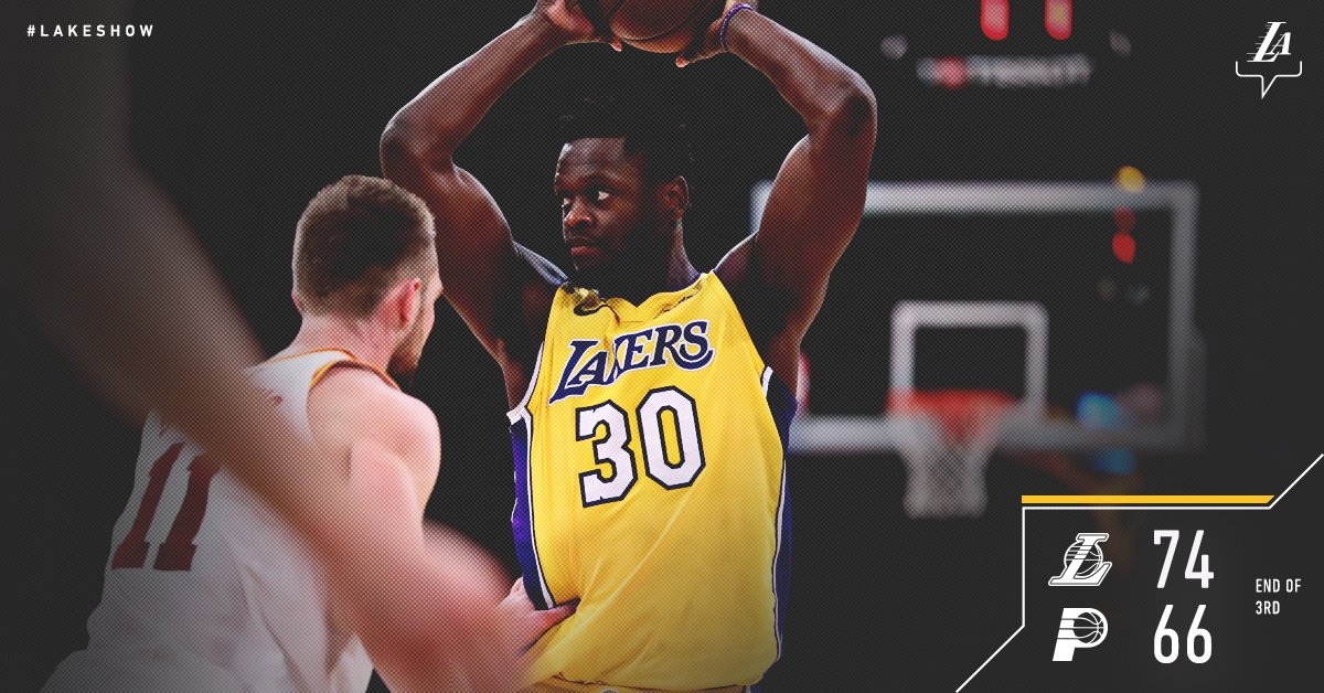 #LakeShow enter the fourth up by eight.   Defense holding Indiana to 39.7% shooting. �� https://t.co/KYv8UnxcvL