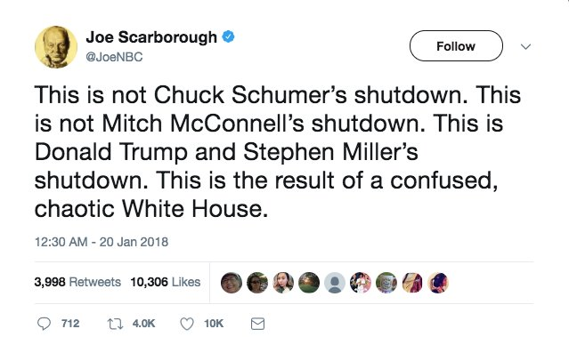 Scarborough: Government shutdown is the result of a 'confused, chaotic White House' https://t.co/AXkKsoscMB https://t.co/or0kEi7Een