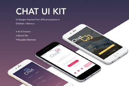 Free Sketch Chat App UI Kit UI_Kits freebies design MarameStudio