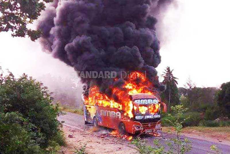 Malindi bodaboda operators torch bus after killer accident