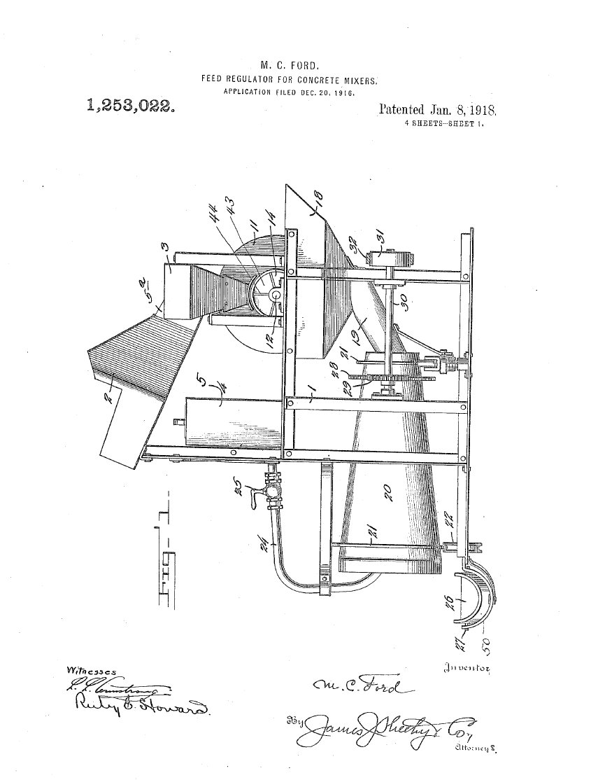 test Twitter Media - #USPTO #Patented Jan. 8, 1918  My present #invention pertains to feed regulators for concrete mixers and it has for its object to provide a simple, inexpensive and easily operated organized mechanism for properly mixing cement with gravel, broken stone or the like [...] https://t.co/iABrQd36cr