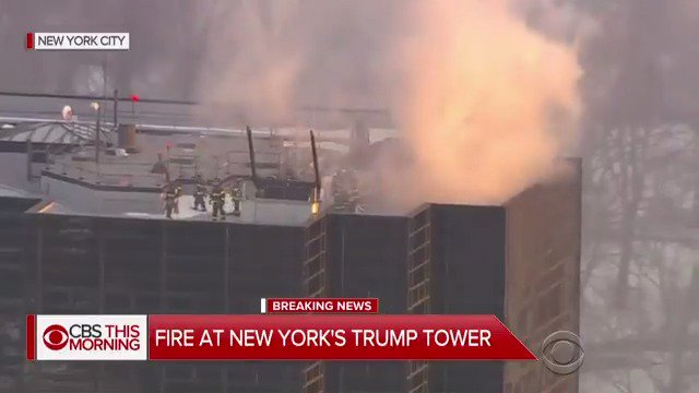 DEVELOPING: Fire at New York City's Trump Tower; aerial views show firefighters on the roof https://t.co/LBqYMCa1kG