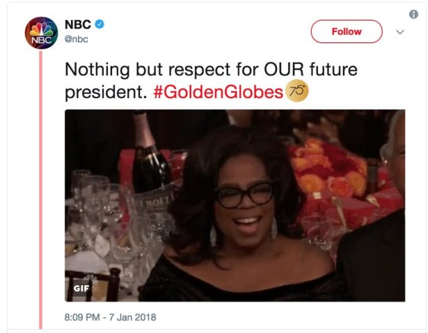 NBC removed a tweet that backed the idea of @Oprah Winfrey for president