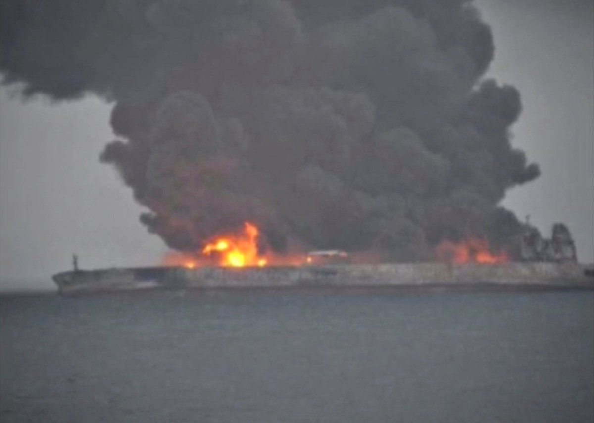 A giant oil tanker is on fire and could explode in the East China Sea