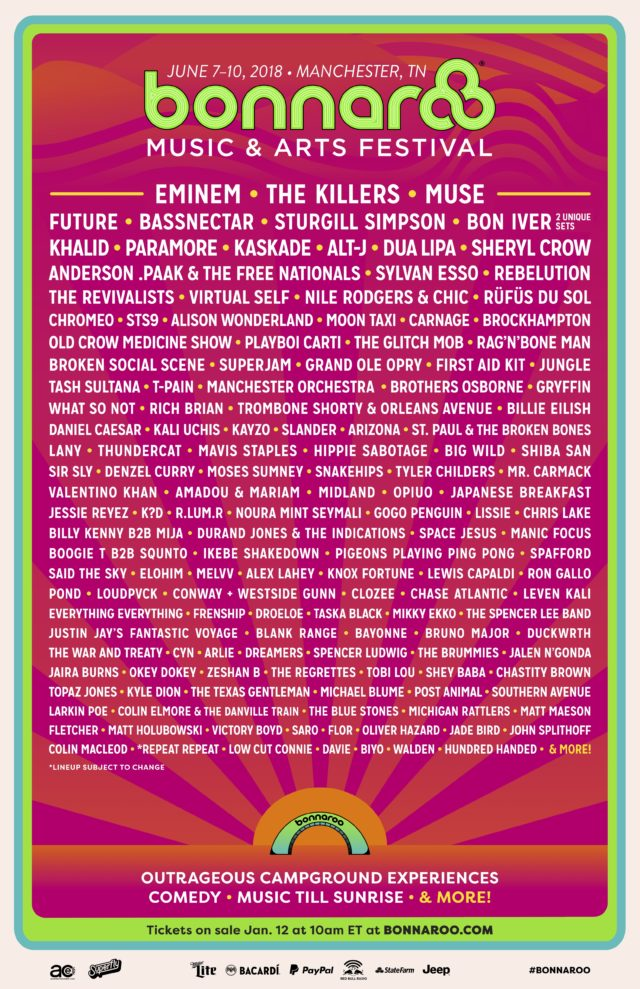 Bonnaroo has unveiled its 2018 lineup https://t.co/lxLPMo3ETB https://t.co/HPgxo6w8Qw