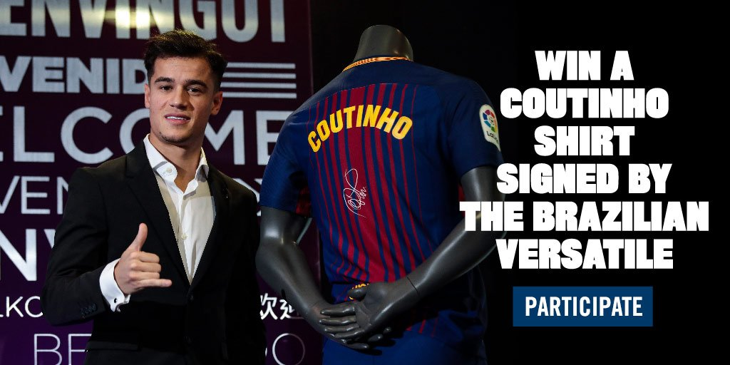 ���� Win a Barça shirt signed by new arrival @Phil_Coutinho.  Enter now!  �� https://t.co/6DU4p4kGQ2 �� https://t.co/ows9DEO8mH
