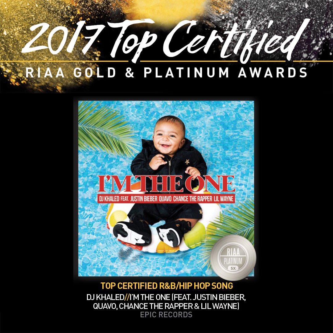 Congratulations @djkhaled! #IMTHEONE is 2017's Top Certified R&B/Hip Hop Song! @RIAA https://t.co/fSs5O8VkRI