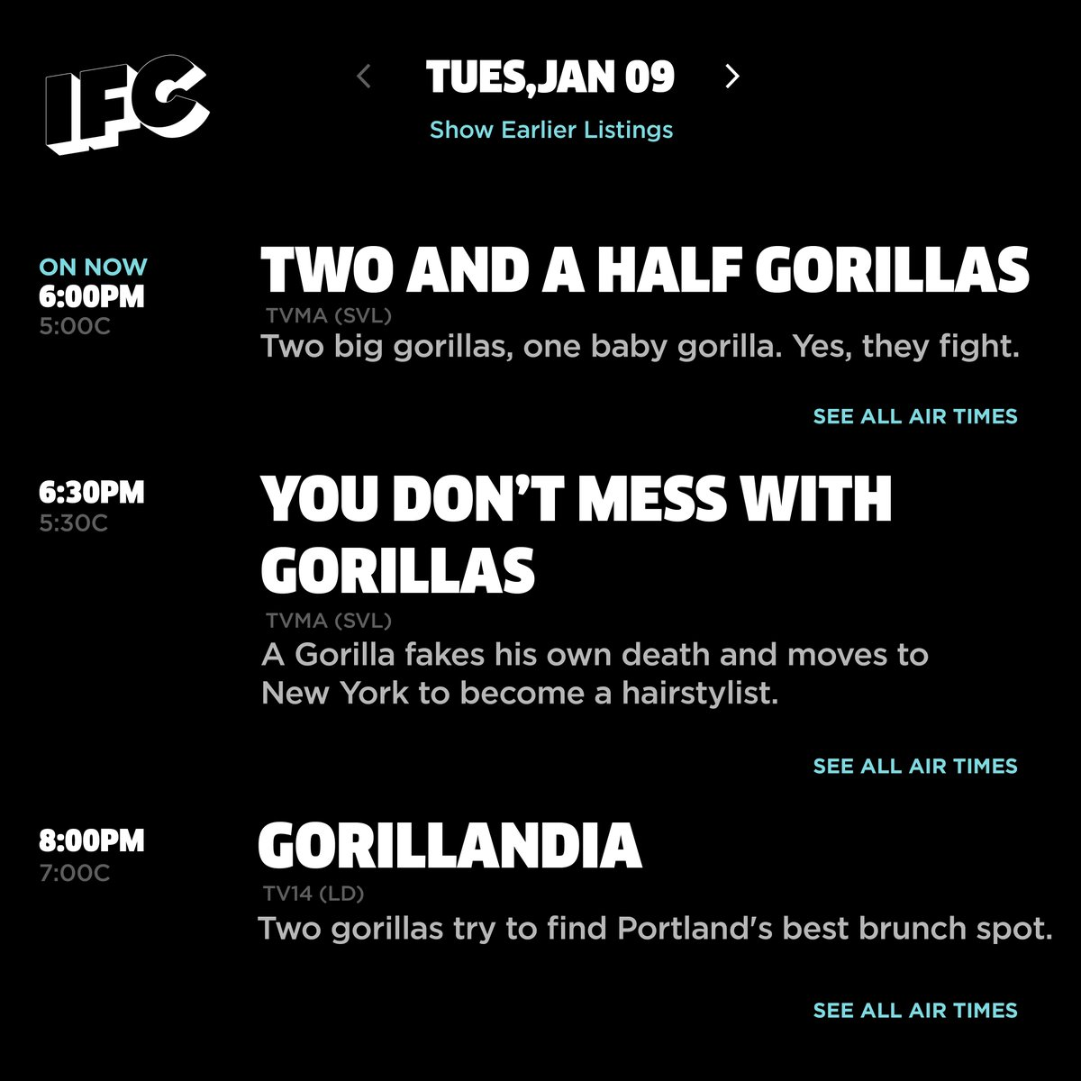 Last minute programming change. 🦍 #gorillachannel https://t.co/wRkEpMzi5C