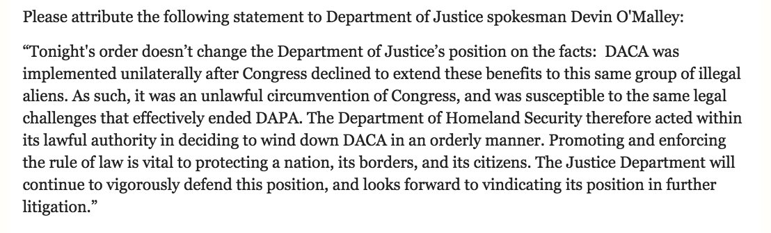 Justice Department Statement on DACA Injunction https://t.co/SGpxHGqTmd