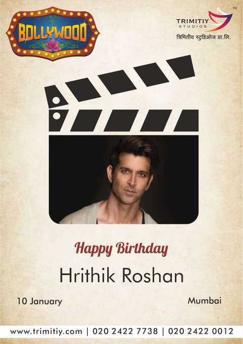 "Trimitiy Studios Wishing A Very Happy Birthday to Bollywood Star ""Hrithik Roshan\""..."