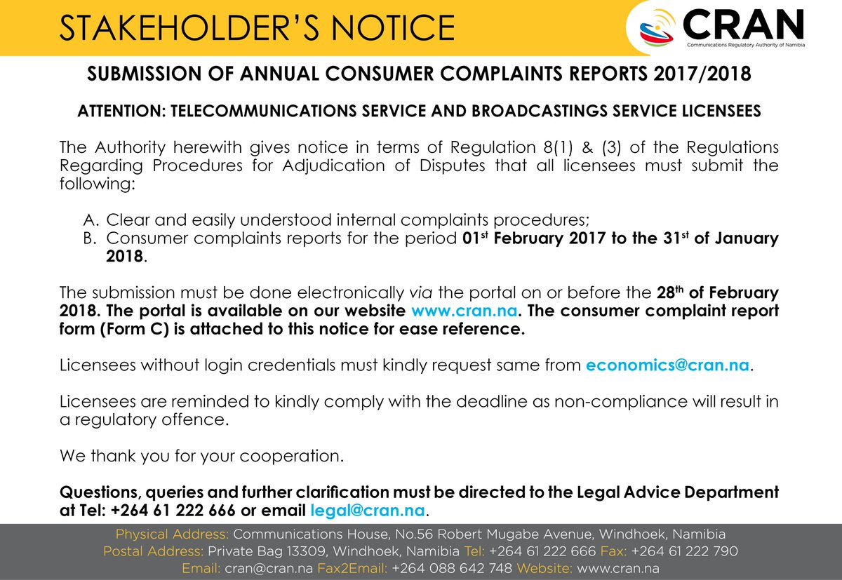 test Twitter Media - Good morning!  ATTENTION: TELECOMMUNICATIONS SERVICE AND BROADCASTING SERVICE LICENSEES  Submission of Annual Consumer Complaints Report for the period 01st February 2017 to the 31st of January 2018.  #CRAN #ICT #Regulator #Annual #Consumer #Complaints #Report 📡🇳🇦 https://t.co/6JUhEFKnhv