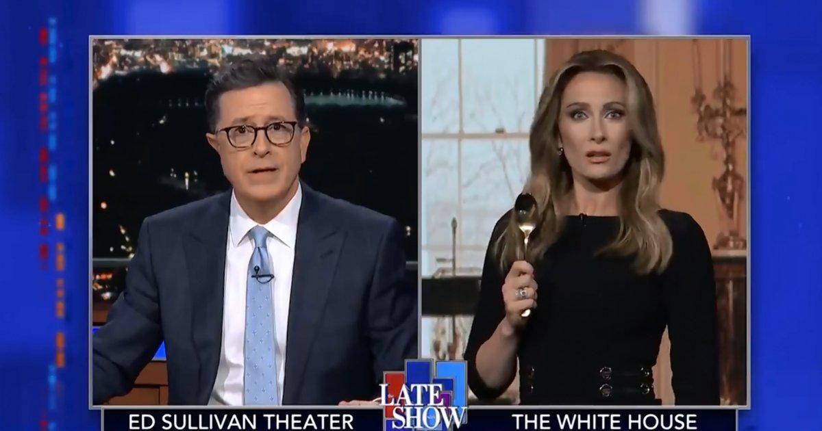 SEE IT: Laura Benanti returns as Melania Trump on 'Late Show' https://t.co/O8nIohXUHo https://t.co/uoXIJBjT14