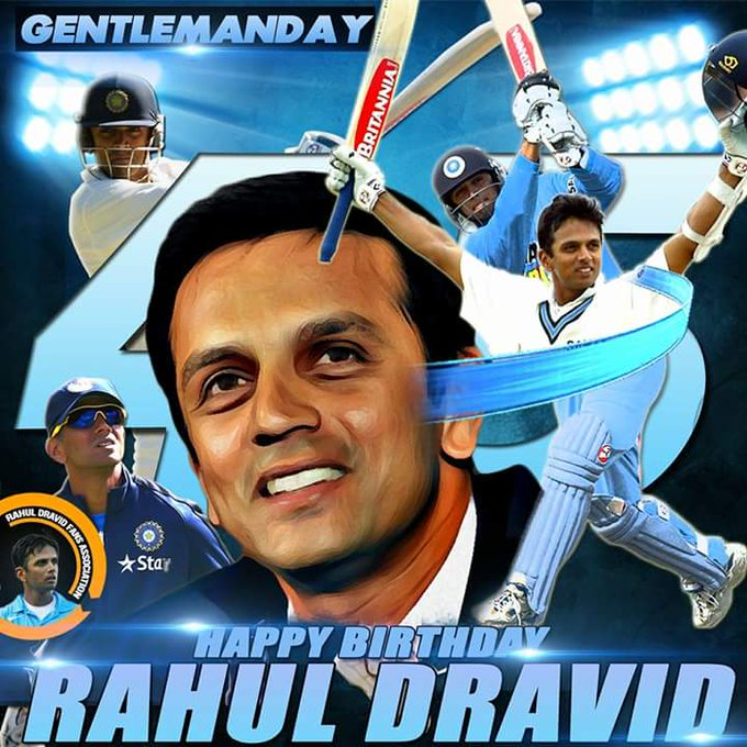 Birthday Rahul Dravid ji (the wall) of Indian cricket team and former captain.  God bless you...