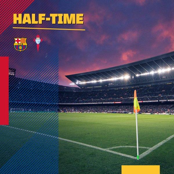 ⏰ At the break! FC Barcelona 4-0 Celta ⚽ Leo #Messi (2), @JordiAlba and @LuisSuarez9 ������ #ForçaBarça #CopaBarça https://t.co/NBXX7fQbpm