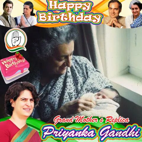 Happy birthday priyanka Gandhi ji Jai congress