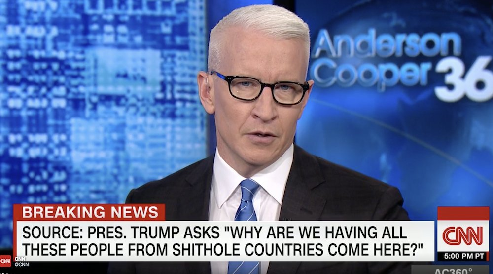 WATCH: Anderson Cooper: 'Let's not dance around it,' Trump's 'shithole' comment is 'racist' https://t.co/CU2mTfopAT https://t.co/6FMS9ioutS
