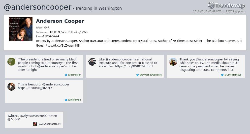 Anderson Cooper, @andersoncooper is now trending in #DC  https://t.co/xGIi1RJxOg https://t.co/w9IttYAhLy